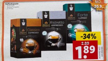 Lidl: 20x Bellarom Nespresso-kompatible Kaffeekapseln (Lunge Forte, Espresso Classico, Ristretto) ab dem 20.9.