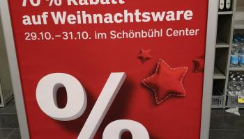 70 % auf alle Weihnachtsartikel im Coop Schönbühl Center vom 29.-31.10.