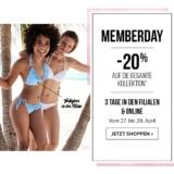 20% auf alles bei Hunkemöller, z.B. Push-up Bikinitop Tropical Garden für CHF 36.- statt CHF 45.-
