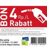 Treibstoff Rabattbon 4Rp./L bei Migrol
