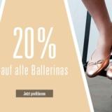 Nur heute: 20% auf Pantoletten und Ballerinas bei Ochsner Shoes, z.B. Tamaris Ballerina Alena für CHF 55.90 statt CHF 59.90