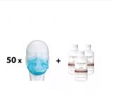 Schutzmasken und Desinfektionsmittel im Set!