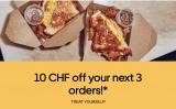 10CHF Rabatt auf deine nächsten 3 Bestellungen auf Uber Eats