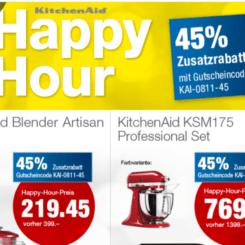 45% auf ausgewählte Artikel von KitchenAid bei nettoshop, z.B. KitchenAid KSM175 Küchenmaschine Professional Set für CHF 769.- statt CHF 1398.-