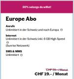 Lebara Europe -> Unlimitierte Anrufe to CH und Europe, unlimitierte weltweit SMS, 6GB 4G internet – 19 /Monat fur IMMER