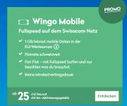 Wingo Mobile Promo: 25.- pro Monat (auch für Bestandeskunden!) inkl. 1GB Daten in Europa