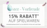 15% Rabatt auf alle Spielwaren bei baby-walz (MBW: 39 Franken)