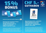 Ab 6. April: 15% Bonus für iTunes Geschenkkarten und 5.- Guthaben ab 30.- für Aldi Suisse Mobile