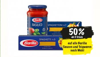 Ankündigung ab 10.3.: 50% Rabatt auf das ganze Barilla Sortiment ab 2 Stück (ohne Aktionspackungen) bei Coop