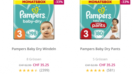 Pampers Baby Dry Windeln (198 Stk) für 18 Rappen pro Windel
