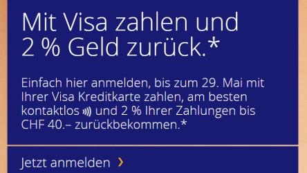 Mit Visa zahlen und 2% Geld zurück
