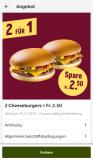 2 Cheeseburger für Fr 2.50 (nur mit App und Login)