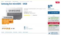 Samsung Evo microSDXC – 64GB für 9Fr bei Steg Pc
