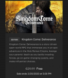 Kingdom Come Deliverance gratis im EPIC Store