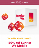 Sunrise We Mobile Abos 50% Aktion für 24 Monate