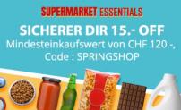 Supermarket Essentials: 15.- Rabatt ab 120.- Bestellwert (Wein, Bier, Tierfutter, Pasta, ..) bei DeinDeal