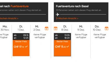 Flüge: Fuerteventura (Nov-Jan) Hin- und Rückflug mit easyJet von Basel ab CHF 30.-