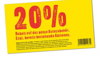 JUMBO: 20% auf das ganze Autozubehör. exkl. bereits bestehende Aktionen