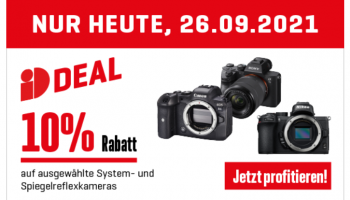 Interdiscount: 10% Rabatt auf ausgewählte System- und Spiegelreflexkameras