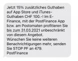 PostFinance iTunes 100.- mit 15% Zusatzguthaben