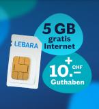 (Nur heute) Lebara – gratis Prepaid SIM + CHF 10.- Startguthaben + 5GB Daten