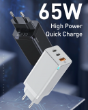 Baseus BS-E915 65W USB-Ladegerät mit GaN-Technologie (1x USB-C PD bis 65W, 1x USB-C PD bis 30W, 1x USB-A Quick Charge bis 30W) bei AliExpress