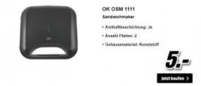 CHF 5.- Artikel bei MediaMarkt: Sandwichmaker, Bügeleisen, Toaster, Wasserkocher