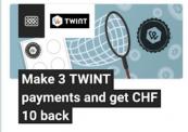 TWINT: CHF 10 Cashback für 3x zahlen (mind. je CHF 10)