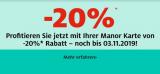 Manor: 20% mit der Manor-Karte bis 03.11.2019