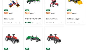 Kinder Trettfahrzeuge (Traktor, Dreirad) bei der Migros Do it zum halben Preis
