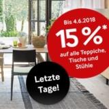 15% auf fast alle Teppiche, Tische und Stühle bei Pfister, z.B. Teppich Jamuna für CHF 296.65 statt CHF 349.-