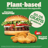 Heute Gratis Whopper und Nuggets (plant-based) bei Burger King