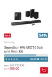 Samsung HW-MS750 Soundbar mit Gratis Subwoofer und Rear Speakern bei Brack.ch