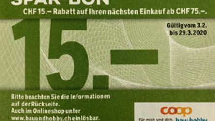 CHF 15.- Rabatt ab einem Einkauf von CHF 75.- im Onlineshop von Coop Bau + Hobby