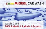 20% Rabatt mit der Migrol Car Wash Card auf alle Waschprogramme
