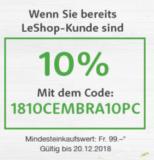 10% Rabatt bei LeShop für Bestandeskunden