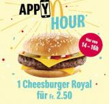 Cheesburger Royal bei McDonald's heute von 14-16 Uhr für CHF 2.50