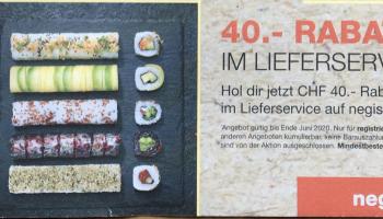 Negishi: 40.- CHF Rabatt im Lieferservice (nur für registrierte Kunden) – MBW 60.-