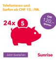 Sunrise Abos swiss start und young swiss start 5.- pro Monat günstiger