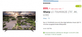 SHARP 4K Ultra HD Smart E-LED TV, 178 cm (70 Zoll), HDR+, Harman/Kardon Soundsystem – LC-70UI936