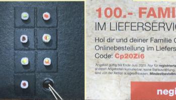 Negishi: 100.- CHF Familiy Rabatt im Lieferservice (nur für registrierte Kunden) – MBW 200.-