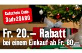 CHF 20.- Rabatt ab einem Einkauf von CHF 80.- (online und in den Filialen) bei Fressnapf