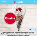 Täglich ein Gratis Frisco Erdbeer Cornet gewinnen in der KKiosk-App