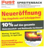 [lokal AG] Neueröffnung FUST Spreitenbach mit 10% Rabatt auf das Elektrohaushalt- und Multimedia-Sortiment