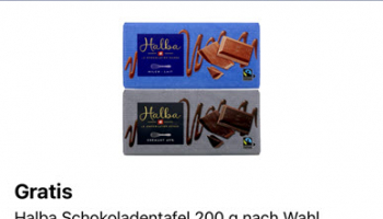 Gratis 1 Halba Schokoladentafel 200g nach Wahl in der Coop Supercard-App