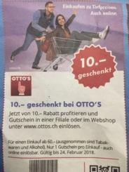 10 Franken geschenkt bei OTTO'S ab 60 Franken Einkauf
