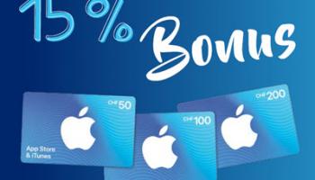 Zusätzlich 15% Bonus auf App Store & iTunes Geschenkkarte (ab CHF 50) bei Aldi ab dem 26.7.2021
