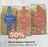 Vorankündigung: 50% auf M-Classic Teigwaren