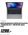 "APPLE MacBook Pro (2019) mit Touch Bar – (13.3 "", 256 GB SSD, i5, 8 GB RAM, Space Grey)"
