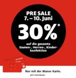 30% auf alle Kleider für Herren, Damen und Kinder bei Manor mit der Manor Karte (einige Ausnahmen)